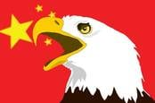 Eagle over China flag
