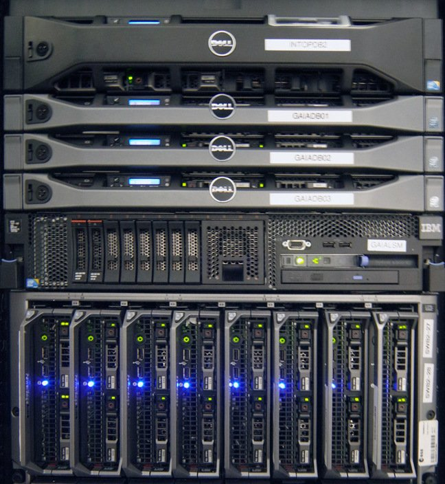 Rack of new IT kit at the PSA