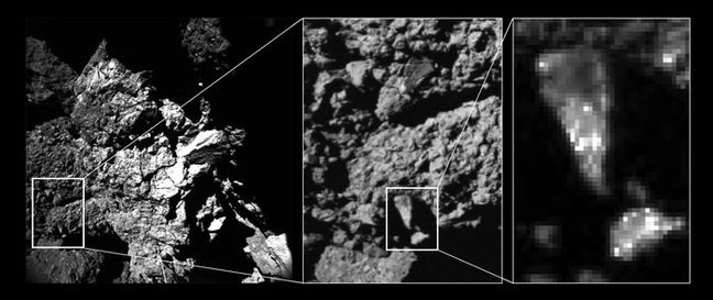 fractured cliff face imaged by CIVA camera 4 reveals brightness variations in the comet's surface properties down to centimetre and millimetre scales.