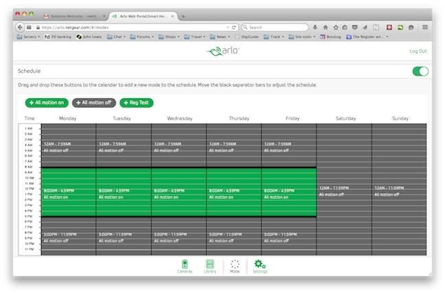 Arlo Web Schedules