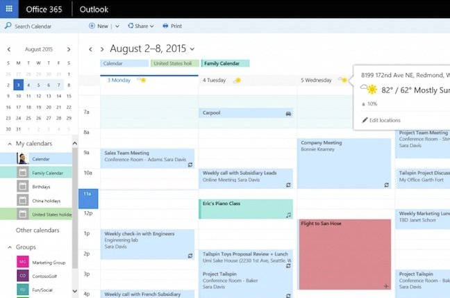 Outlook for the web's new calendar