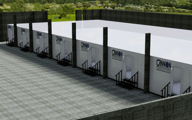 Row of modular data centre pods sited in open air