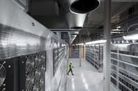 Verne Global data centre server racks from above