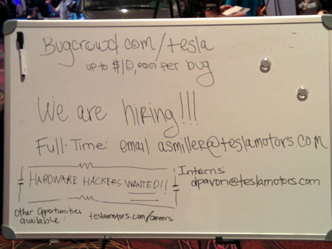 Tesla job offer at DEF CON