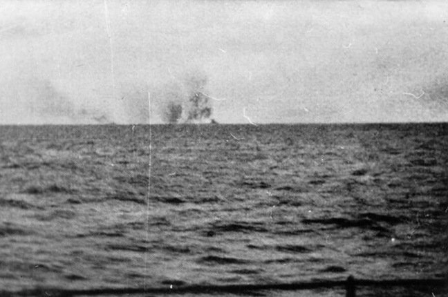 The Hood explodes, as seen from the German fleet. Pic: Bundesarchiv Bild