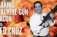Ted Cruz poses with an AR-15 for his machine gun bacon video