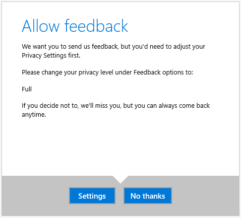 No feedback unless you give up privacy