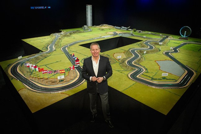 Brundle poses with his Scaletrix track. Pic: Classic Car Auctions