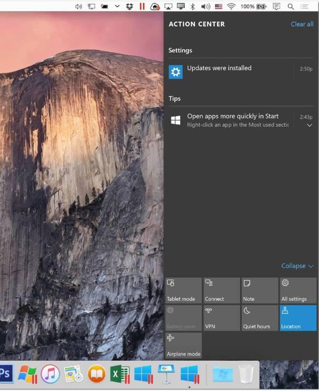 Action Center integration in Parallels Desktop 11