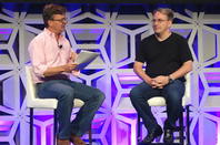Jim Zemlin and Linus Torvalds at LinuxCon 2015