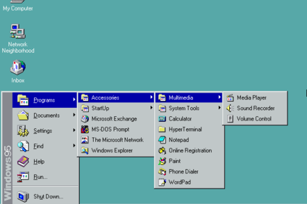 The Start menu in Windows 95