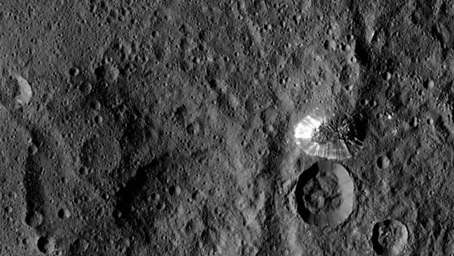 The shining mountain on Ceres. Pic: NASA/JPL-Caltech/UCLA/MPS/DLR/IDA