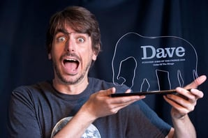 Darren Walsh and his Dave trophy. Pic: Dave