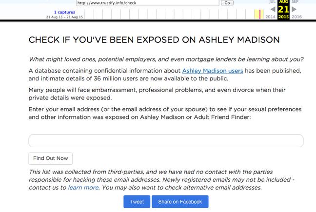 "Trustify's original ""check"" page (Wayback Machine)"