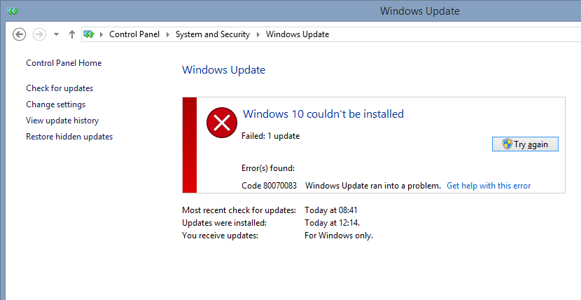 Not all Windows 10 upgrade attempts succeed