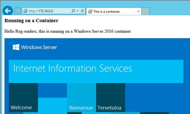 IIS running on a Windows Server container