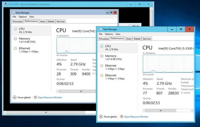 Task Manager on a container and on its host