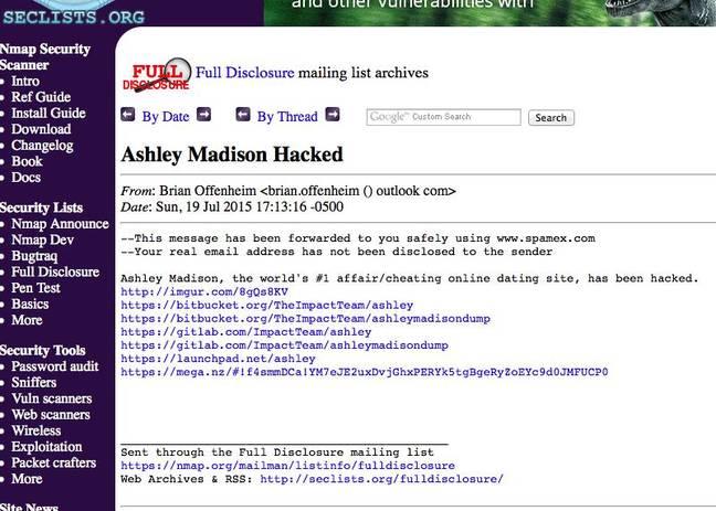 Full Disclosure Ashley Madison Post