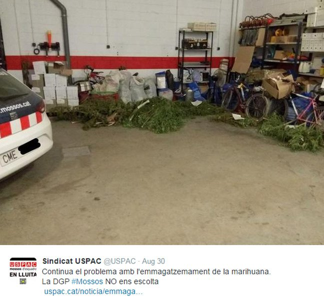 A picture of the confiscated dope on Twitter