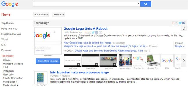 Screen grab of Google tech news, with rebrand at the top
