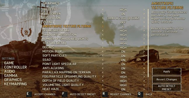 Mad Max game PC video settings