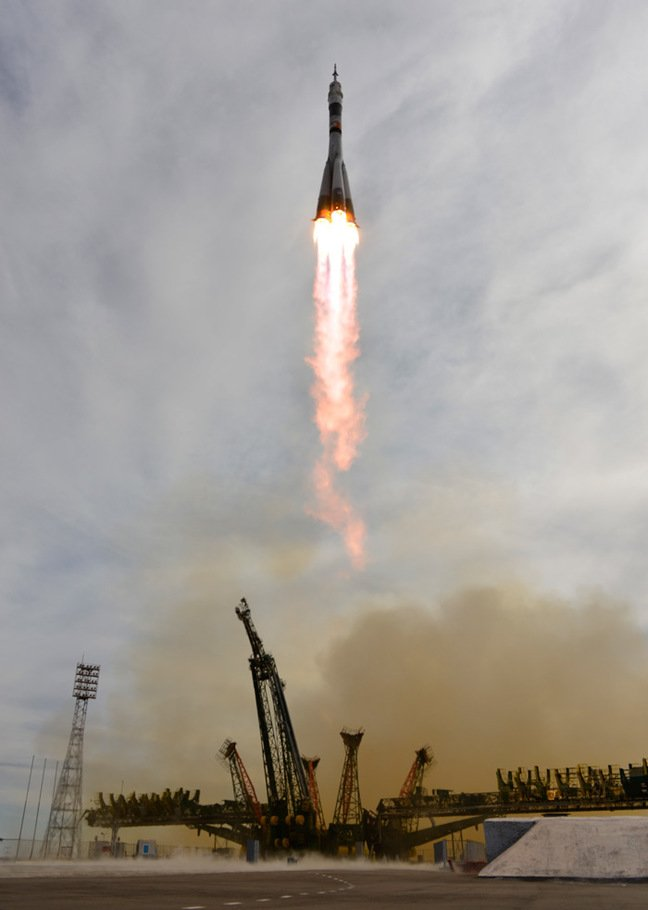 The Soyuz TMA-18M launches to the ISS. Pic: ESA / S. Corvaja