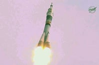 The Soyuz launch earlier today. Pic: NASA TV