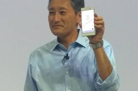 Sony President Kazuo Hirai holds up the Xperia Z5