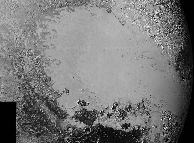 synthetic perspective view of Pluto, based on the latest high-resolution images to be downlinked from NASA's New Horizons spacecraft, shows what you would see if you were approximately 1,100 miles (1,800 kilometres) above Pluto's equatorial area, looking northeast over the dark, cratered, informally named Cthulhu Regio toward the bright, smooth, expanse of icy plains informally called Sputnik Planum.