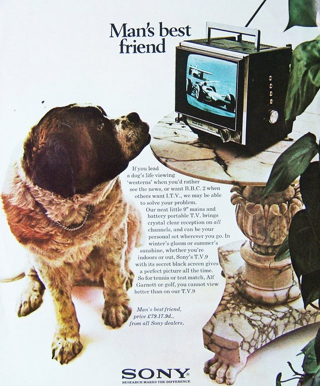 A 1969 print advert for the Sony telly