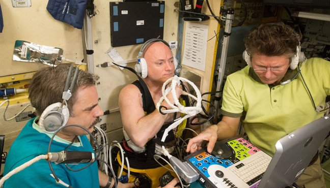 Scott Kelly in the Chibis suit. Pic: NASA