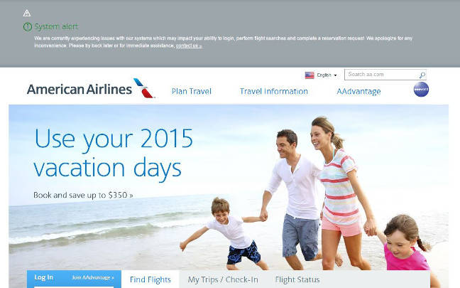 American Airlines web page