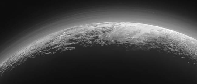 New Horizons shot of Pluto's crescent