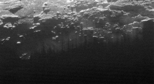 Low-lying clouds over Pluto