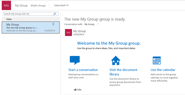 An Office 365 group is now visible in Outlook