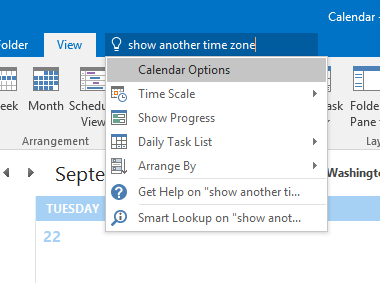 Office 2016 Tell Me found the right place to show a second time zone