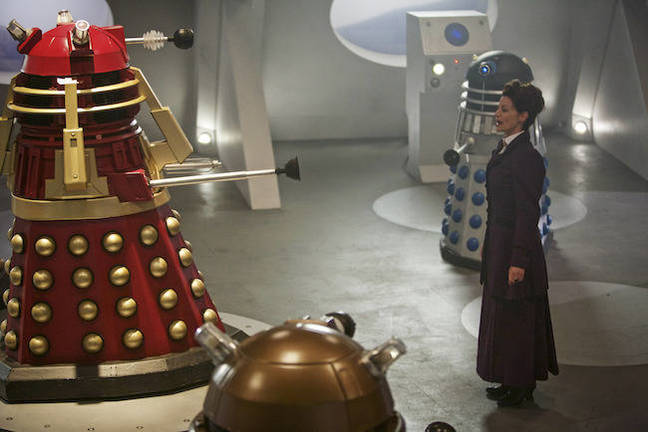 Missy with Daleks in Doctor Who – Witch's Familiar. Pic credit: BBC
