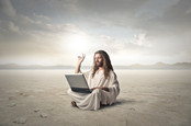 jesus on laptop in desert