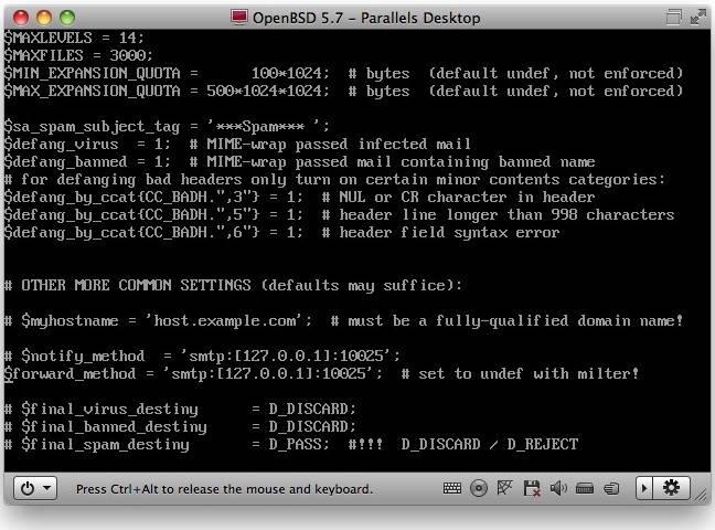 The Amavis config file is quite complex