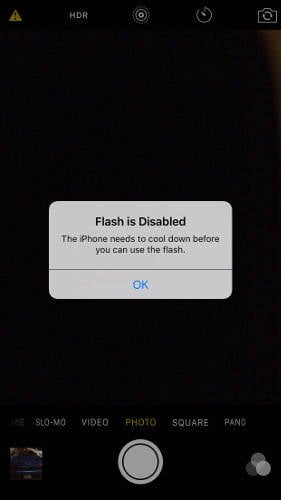 iPhone 6S Plus flash warning