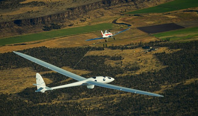 The Perlan 2 releases from the tow aircraft on its maiden flight. Pic: Airbus