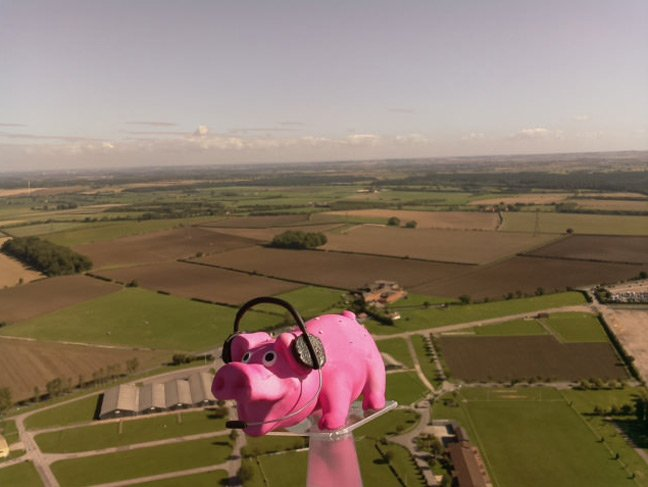Pinky just after launch above the fields of Lincolnshire
