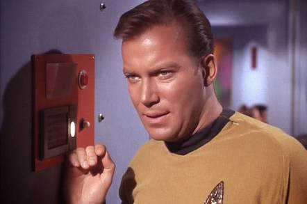 William Shatner plays Captain James Tiberius Kirk on Star Trek: The Original Series (1966-69)