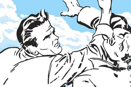 retro cartoon featuring two men fighting against cloud backdrop
