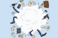 People fight in cartoon cloud. photo by Shutterstock