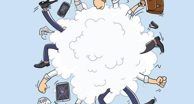 People fight in cartoon cloud. photo by Shutterstock