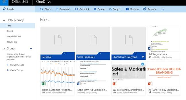 The refreshed OneDrive for Business browser view