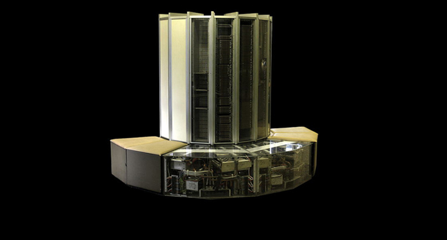 CRAY-1 on display in the hallways of the EPFL in Lausanne.