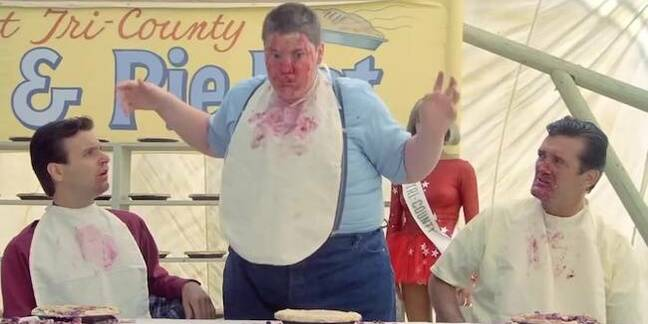 Still from Stand By Me movie. Pie eating contest