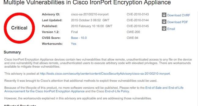 A beautiful new Cisco vuln report